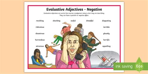 Tas * New * Evaluative Adjectives Negative Word Mat