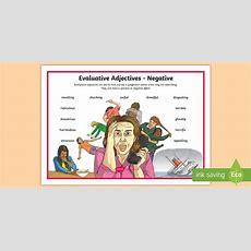 Vic Evaluative Adjectives Negative Word Mat