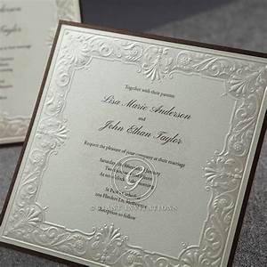 embossed frame in classic style available in 3 colours With raised lettering invitations