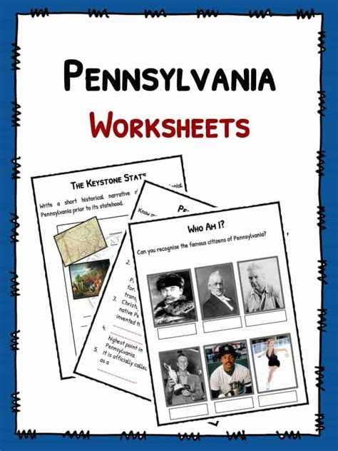 pennsylvania facts worksheets historical information