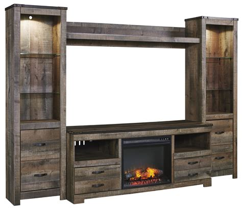 tv cabinet with fireplace signature design by trinell rustic large tv stand w