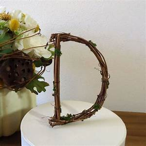 wedding cake topper 4quot rustic personalized grapevine With rustic wedding cake toppers letters