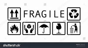 Fragile Symbol Black And White - Illustration - 182841947 ...