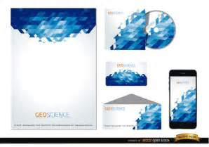 template design stationery template design with blue background vector free