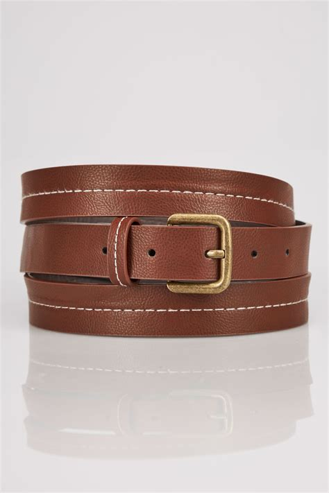 c add to container with templates tan stitched belt with pin buckle fastening plus size 16