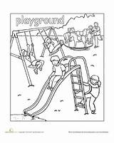 Playground Coloring Pages Places Preschool Worksheets Town Worksheet Education Printable Sheets Paint Colouring Around Clipart Kindergarten Printables Links Child Down sketch template