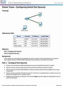 5 2 2 7 Packet Tracer Configuring Switch Port Security