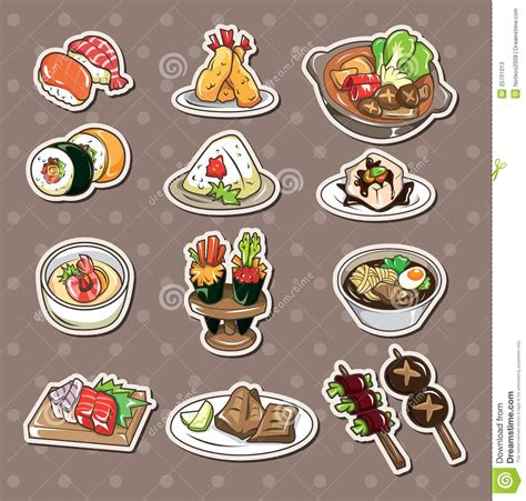 cuisine stickers japanese food stickers stock vector image of doodle