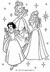 Disney Princesses Coloring Pages Princes Princess Snow Aurora Sleeping Beauty sketch template