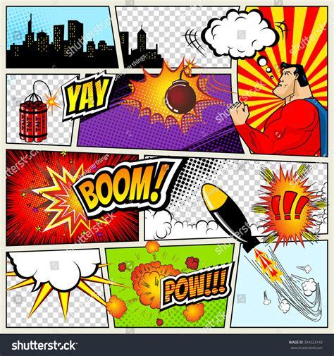 Comics Template Vector Retro Comic Book Stock Vector
