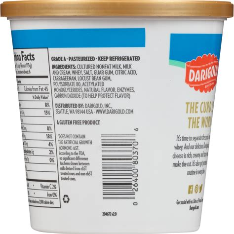 Darigold Fat Free Cottage Cheese Nutrition Facts Besto Blog