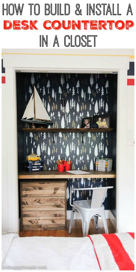 how to build install a desk countertop in a closet the