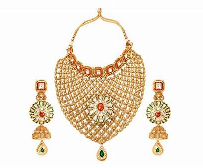 Jewellery Transparent Gold Necklace Kundan Glass Gifting