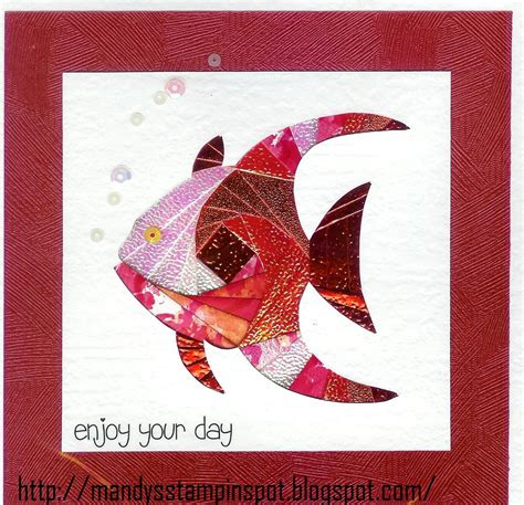 mandys stampin spot iris folding strawberries fish