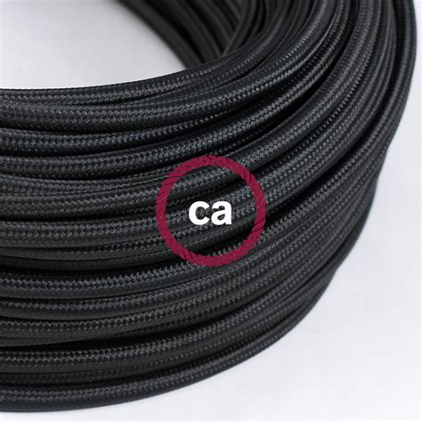 fil electrique pour le fil 201 lectrique rond gaine de tissu de couleur effet soie tissu uni noir rm04