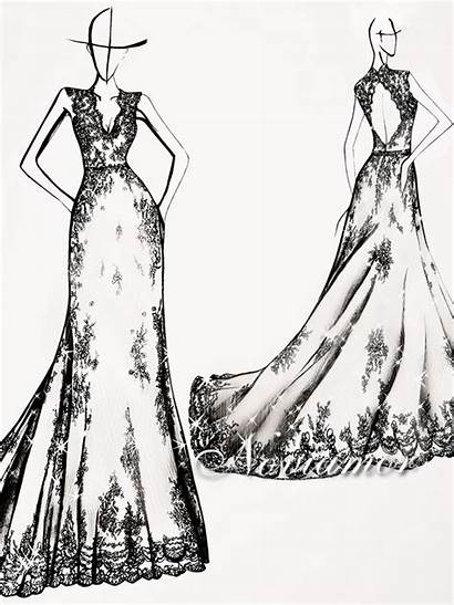 Lace Dresses Sketches Drawings Gowns Celine Designer