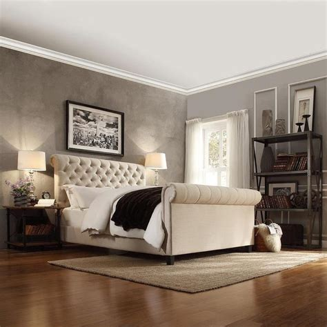 26474 beige tufted bed knightsbridge beige linen rolled top tufted chesterfield