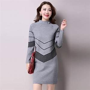 Aliexpress.com  Buy 2016 Korean Fashion Women Warm Knitted Sweater Dresses Autumn Winter Female ...