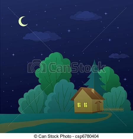 house  forest vector cartoon summer landscape country