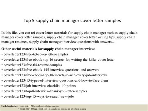 Cover Letter Supply Chain Internship by Top 5 Supply Chain Manager Cover Letter Sles
