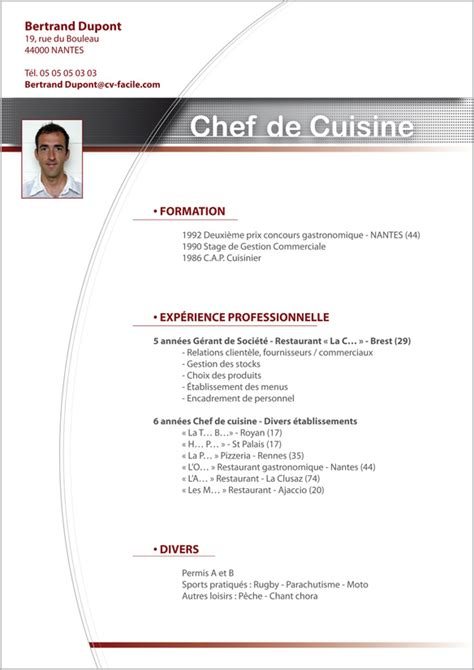 Modele Cv Facile by Exemple Cv Cuisinier Cr 233 Ation Cv Par Cv Facile