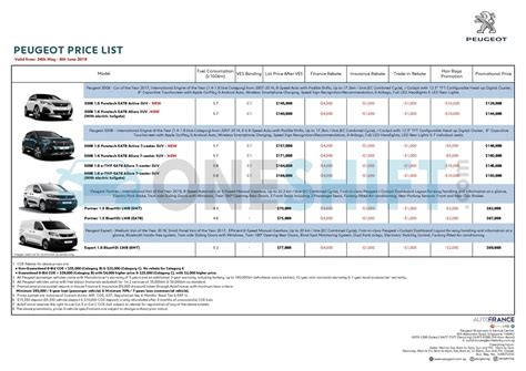 Peugeot Car Prices by Peugeot Singapore Printed Car Price List Oneshift