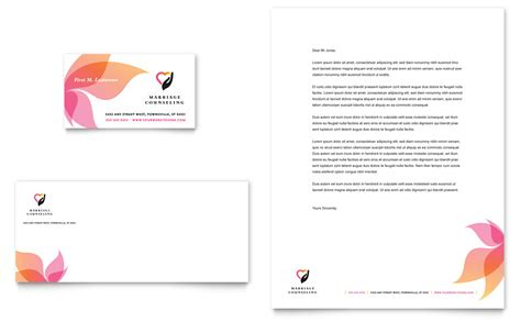 marriage counseling business card letterhead template