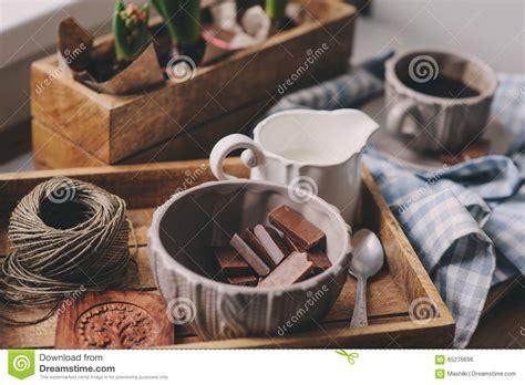 cozy winter morning  home coffee milk  chocolate