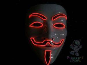 Vendetta Guy Fawkes Anonymous NEON RED El Wire Rave Party