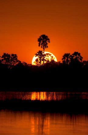 A burning sunset in the Okavango Delta, Botswana   Sunset ...