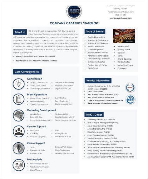 Capabilities Statement Template by Capability Statement Template Exles Of Our Work
