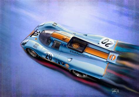 porsche 917 art porsche 917k gulf livery art print simply petrol