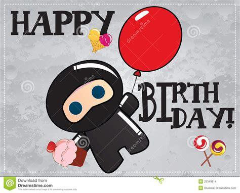 happy birthday card  cute cartoon ninja stock images
