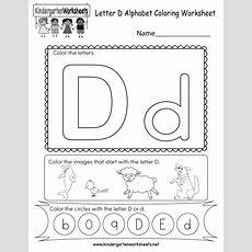 Letter D Coloring Worksheet  Free Kindergarten English Worksheet For Kids