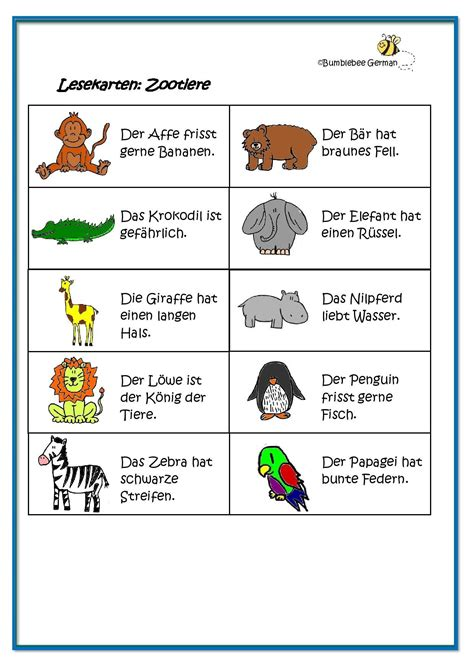 worksheet german for zoo animals zootiere