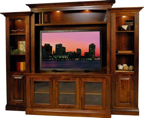 amish berlin tv entertainment center solid wood media wall