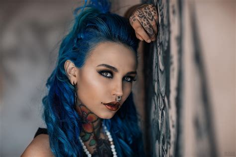 Wallpaper Face Women Model Dyed Hair Nose Rings