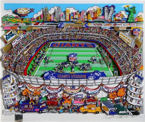 Charles Fazzino New York Giants 3 D Football Serigraph