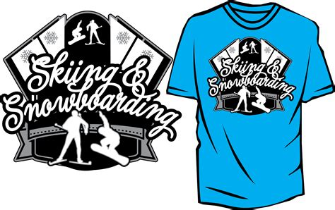 skiing and snowboarding free vector design for tshirt and apparel download print ready