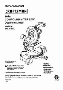 Craftsman 315212300 User Manual Compound Miter Saw Manuals