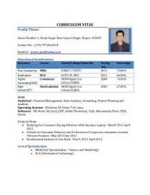 resume for mba fresher resume format for freshers