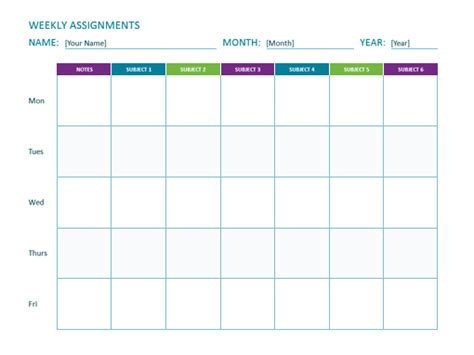Weekly Assignment Sheet Definition Of A Dissertation Free Weekly