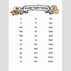 Kinder Sight Word List  Mrswebster's Kindergarten