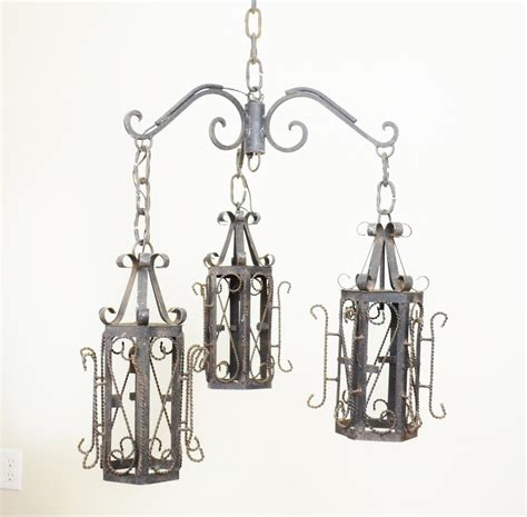 wrought iron lantern pendant chandelier by luccabalesvintage