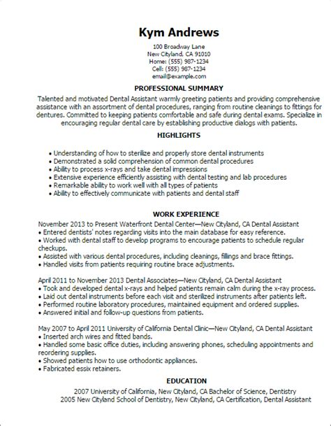 Dental Resume Templates by Resume Templates Dental Assistant Nifty Helpfulness