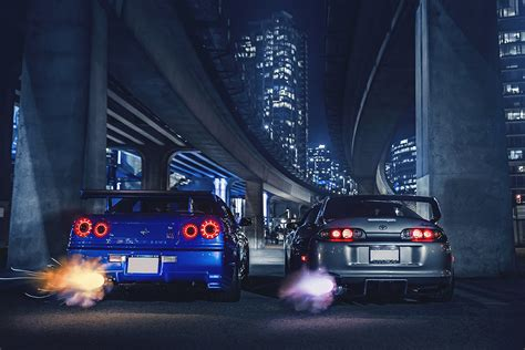 Gtr Shooting Flames Wallpaper by Nissan Skyline R34 Toyota Supra Exhaust Nigth Sport Cars