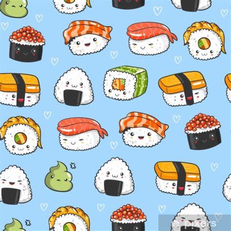 Hand drawn various kawaii sushi. Colored vector seamless ...