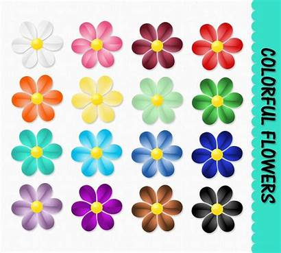 Flower Printable Clipart Flowers Clip Colorful Scrapbook
