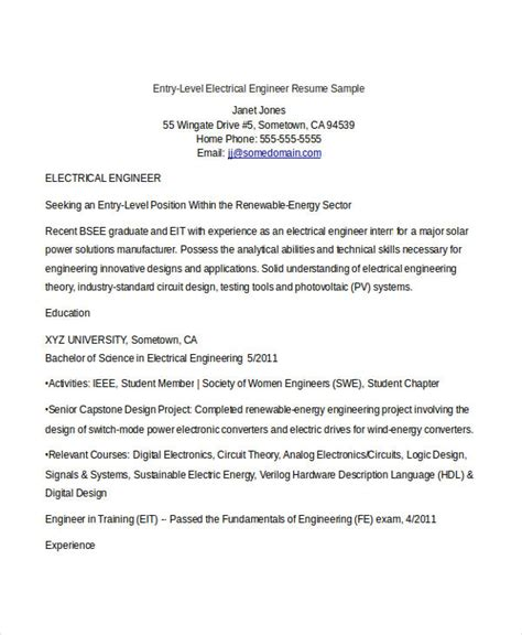 Entry Level Quality Engineer Resume by Resume Exles Mike Collins Electrical Engineering Resume Templates Areas Of Expertise