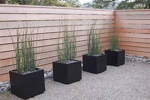 modern-wood-fence-Landscape-Modern-with-black-pots-fence